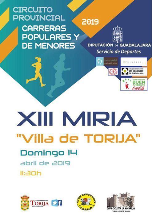 El domingo 14 se celebra la XIII Miria de Torija, primera prueba del Circuito de Carreras Populares 2019 de la Diputación de Guadalajara