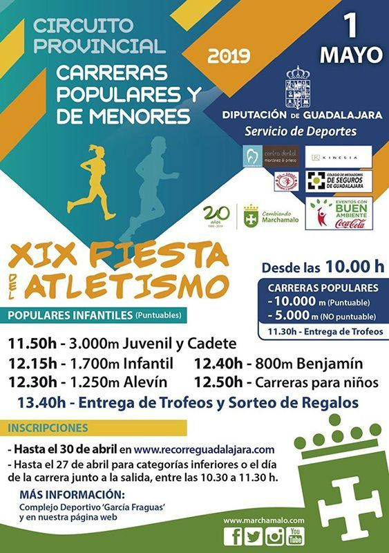 El miércoles 1 de mayo se celebrará la XIX Fiesta del Atletismo de Marchamalo, segunda prueba del Circuito Diputación de Guadalajara