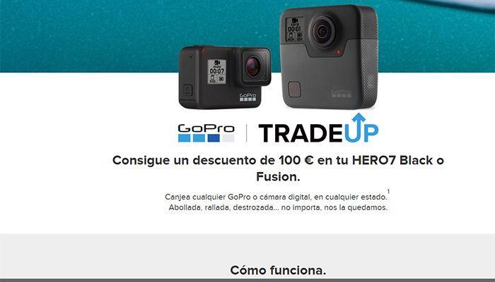 Los usuarios podrán enviar cualquier GoPro de antigua generación, o cualquier otra cámara digital, y recibir 100€ de descuento para adquirir la HERO7 Black o Fusion