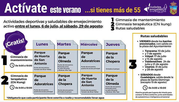 El Ayuntamiento de Guadalajara pone en marcha `Actívate en verano' con acciones deportivas y saludables de envejecimiento activo