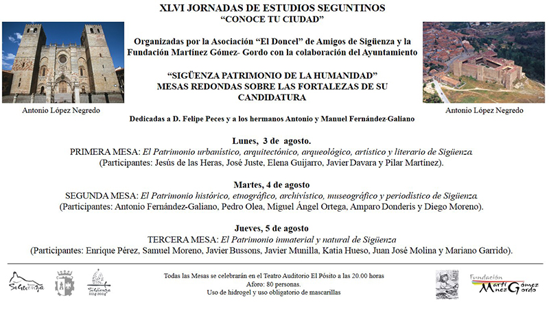 Las XLVI Jornadas de Estudios Seguntinos, dedicadas a la candidatura de Sigüenza como Patrimonio de la Humanidad