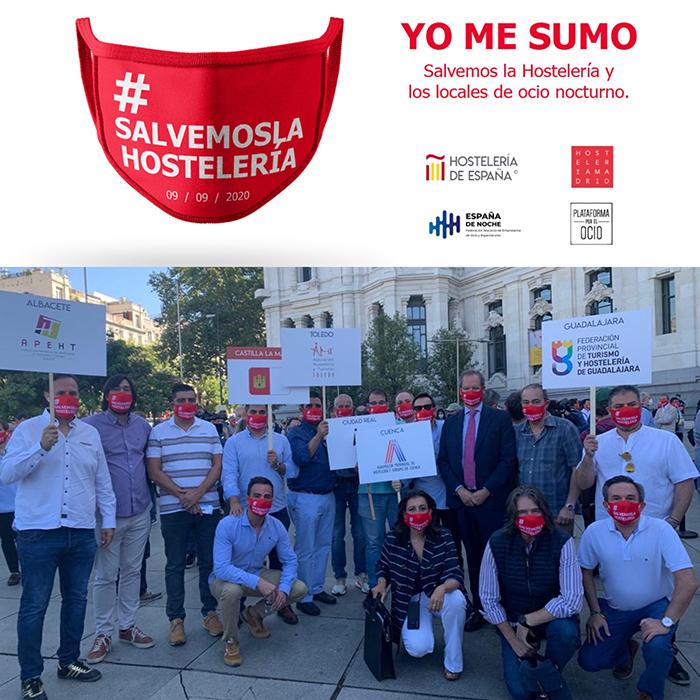 Representantes de la Federación de Turismo y Hostelería de Guadalajara acuden a la concentración de Madrid para salvar el sector