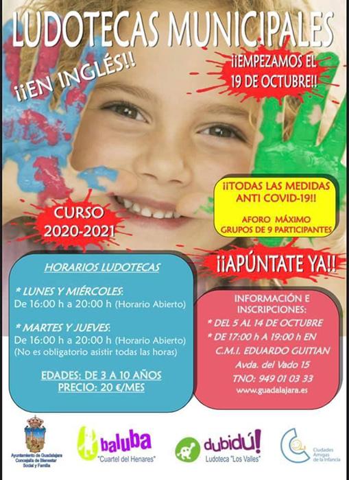 Abierto el plazo de inscripción a las ludotecas municipales de Guadalajara, para un aforo de hasta nueve participantes con todas las medidas anti COVID