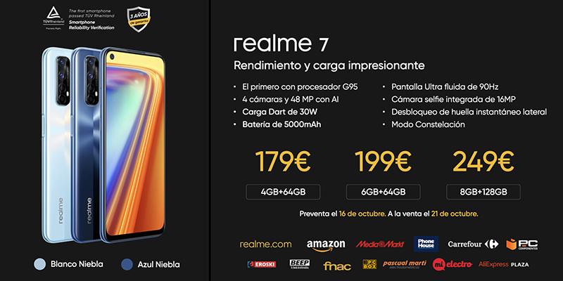 La serie 7 de realme se presenta en España con la carga más rápida de su gama a partir de 179€