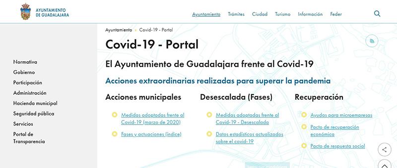Portal Covid Ayuntamiento Guadalajara
