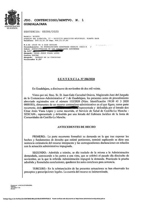 El Sescam, obligado a reincorporar a una trabajadora temporal de Guadalajara a la que se cesó tras una baja