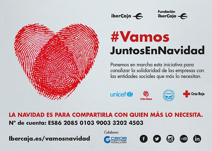 """CEOE-Cepyme Guadalajara apoya la iniciativa """"Vamos es ir siempre juntos, también en Navidad"""", de Ibercaja y su fundación"""