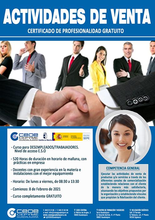 Últimas plazas para el curso online de actividades de venta de CEOE-Cepyme Guadalajara