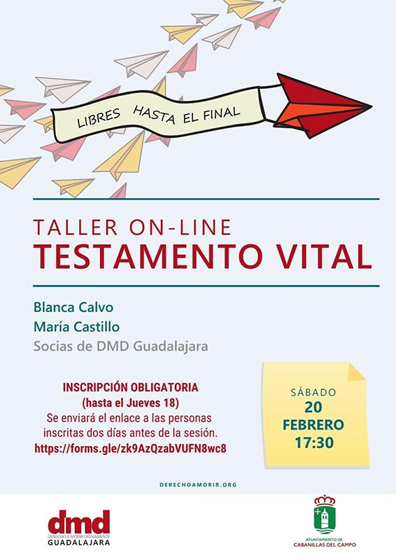 Cabanillas acoge un taller telemático sobre Testamento Vital, el sábado 20 de febrero
