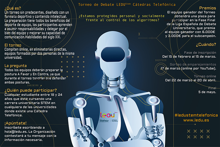 Estudiantes STEM de la Universidad de Castilla-La Mancha podrán participar en eI I Torneo Virtual de Debate LEDUStem Cátedras Telefónica