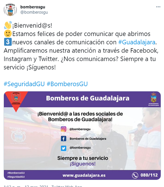 El Cuerpo de Bomberos de Guadalajara estrena también perfiles en redes sociales para acercar su labor a la ciudadanía