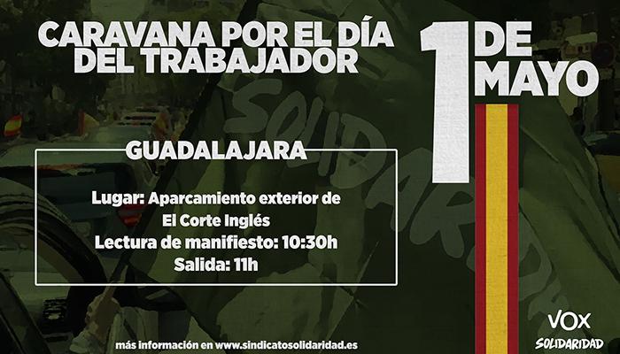 Caravana por el Día del Trabajador este 1 de mayo en Guadalajara convocada por VOX y Solidaridad