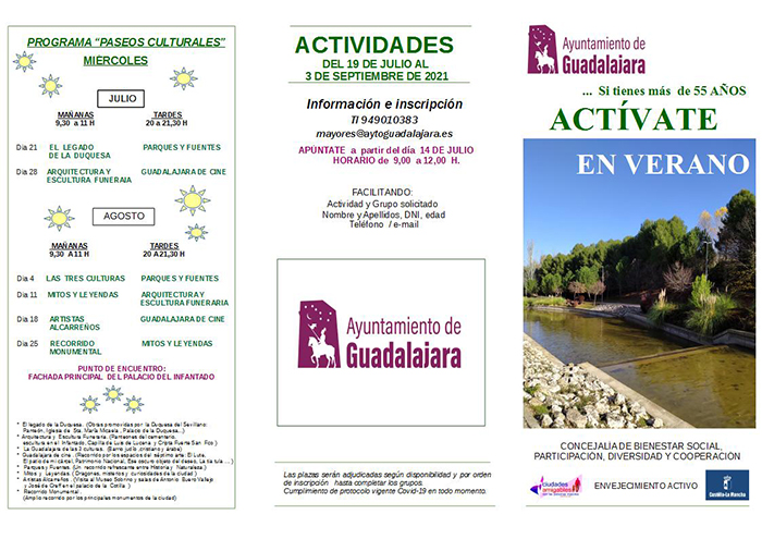 El Ayuntamiento de Guadalajara organiza 'Actívate en verano' por segundo año para mayores de 55 años con paseos culturales y actividad física y emocional