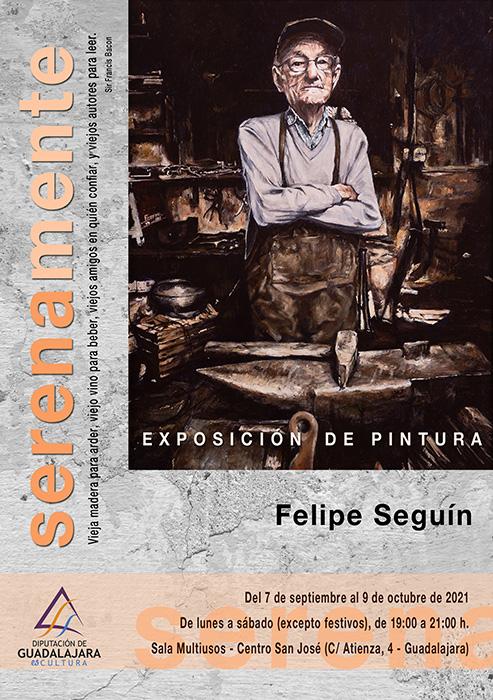Exposición de pinturas de Felipe Seguín en la Multiusos de la Diputación de Guadalajara en homenaje a los mayores fallecidos por el coronavirus